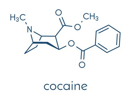 Cocaine stimulant drug molecule. Used as salt or as free base (crack, freebase). Skeletal formula.