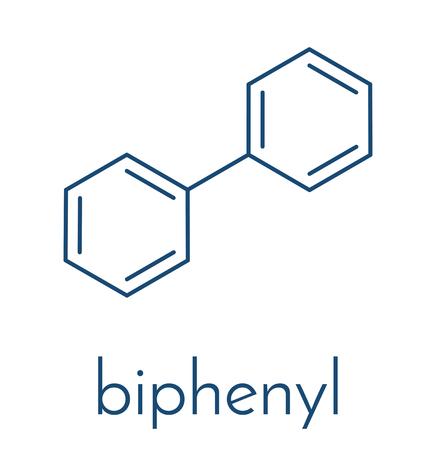 Lemonene (biphenyl, diphenyl) preservative molecule. Skeletal formula.  イラスト・ベクター素材