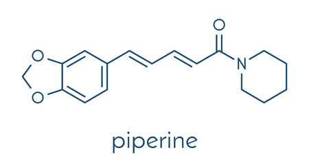 Piperine black pepper molecule. Responsible for the pungency of black pepper and long pepper. Skeletal formula.