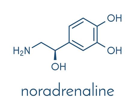 Norepinephrine (noradrenaline, norepi) hormone and neurotransmitter molecule. Skeletal formula.