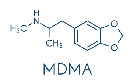 MDMA (XTC, E, ecstasy) party drug molecule. Stock Illustratie