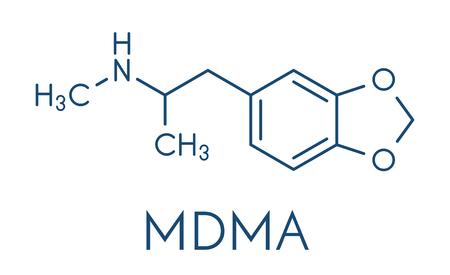 MDMA (XTC, E, ecstasy) party drug molecule. Vectores