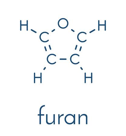 フランヘテロ環芳香族分子。  イラスト・ベクター素材