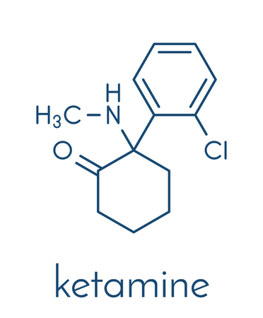 Ketamine anesthetic drug molecule. Illustration