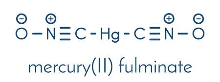 水銀は一次分子をフルミネートする。  イラスト・ベクター素材