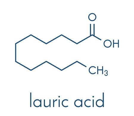 Lauric (dodecanoic) acid molecule. Common saturated medium chain fatty acid. Skeletal formula.