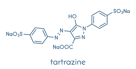 Tartrazine (E102) food dye molecule. Yellow azo dye used in food, beverages, pharmaceuticals, etc. Allergenic. Skeletal formula. Illustration