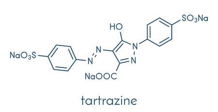 Tartrazine (E102) 식품 염료 분자. 식품, 음료, 의약품 등에 사용되는 노란색 아조 염료. 알레르기. 골격 공식. 일러스트