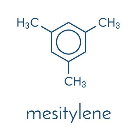 メシチレン芳香族炭化水素分子。化学産業と環境における揮発性有機化合物 (VOC) 汚染物質の重要な溶媒は。骨格式。