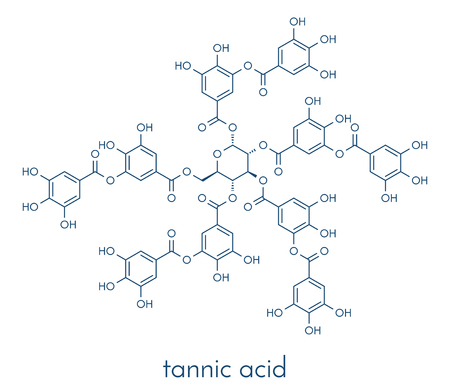 Tannic acid molecule (one isomer shown). Type of tannin. Skeletal formula. Illustration
