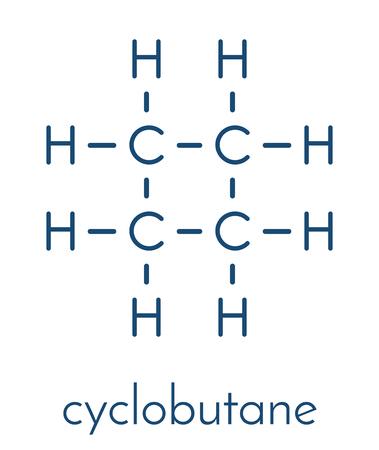 Cyclobutane cyclic alkane (cycloalkane) molecule. Skeletal formula. Illustration
