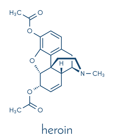 Heroin (diacetylmorphine, morphine diacetate, diamorphine) opioid drug molecule. Skeletal formula.