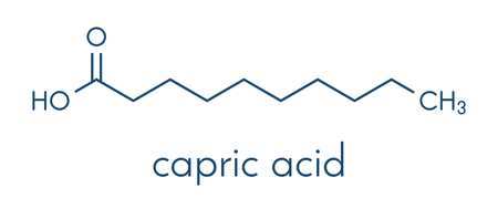 Capric (decanoic) acid molecule. Common saturated fatty acid. Skeletal formula.