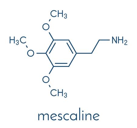Mescaline peyote cactus psychedelic molecule. Skeletal formula. Stock Vector - 91935115