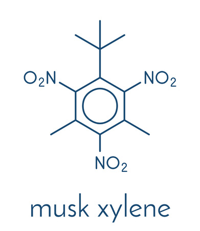 Musk xylene molecule. Highly persistent and bioaccumulative pollutant used as a synthetic musk fragrance. Skeletal formula.
