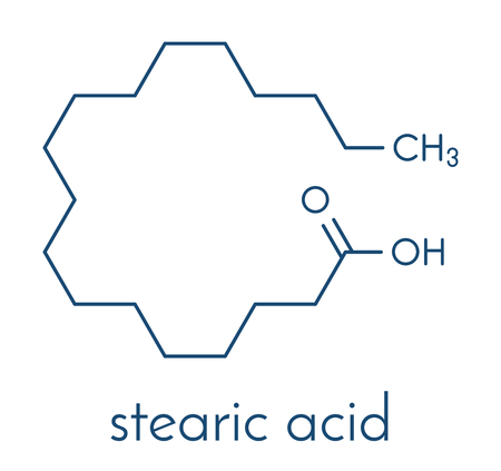 Stearic acid saturated fatty acid molecule. Also known as octadecanoic acid; Esters and salts are known as stearates. Skeletal formula. Vettoriali