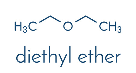 Diethyl ether solvent molecule. Skeletal formula.