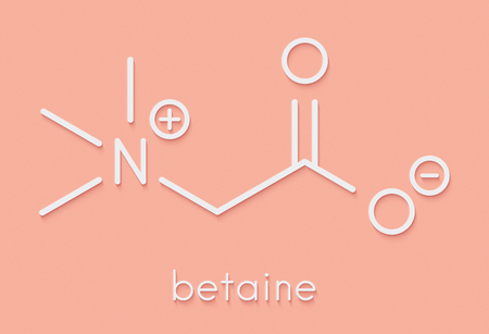 Betaine (glycine betaine, trimethylglycine) molecule. Originally found in sugar beet (Beta vulgaris). Skeletal formula. Stock Photo