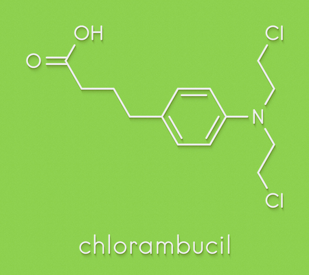 Chlorambucil leukemia drug molecule. Nitrogen mustard alkylating agent mainly used to treat chronic lymphocytic leukemia (CML). Skeletal formula. Reklamní fotografie