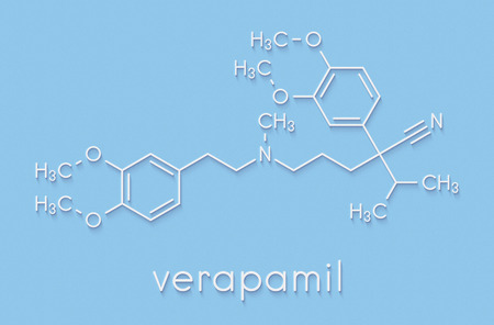 Verapamil calcium channel blocker drug. Mainly used in treatment of hypertension (high blood pressure) and cardiac arrhythmia (irregular heartbeat). Skeletal formula. Stock Photo