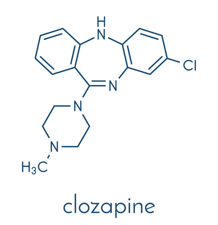 Clozapine atypical antipsychotic drug molecule. Neuroleptic medicine used in treatment of schizophrenia. Skeletal formula.