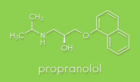 Propranolol high blood pressure drug molecule. Used to treat hypertension, anxiety and panic disorders. Skeletal formula. Stock Photo