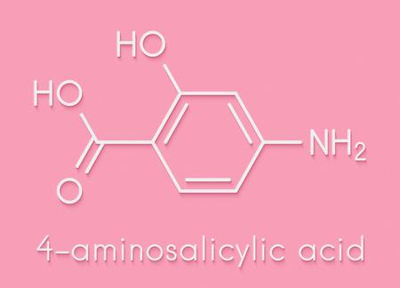 Para-aminosalicylic acid drug molecule. Used in treatment of tuberculosis and inflammatory bowel disease (ulcerative colitis, Crohns disease). Skeletal formula.