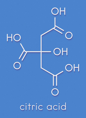 Citric acid molecule. Common fruit acid, used as food additive and for many other purposes. Skeletal formula. Stock Photo