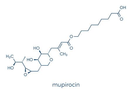 Mupirocin (pseudomonic acid) antibiotic drug molecule. Used topically against gram-positive bacteria. Skeletal formula.