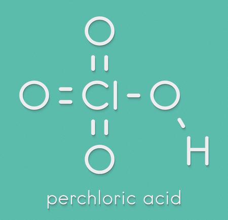 Perchloric acid superacid molecule. Skeletal formula. Stok Fotoğraf