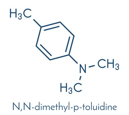 N, N-dimethyl-p-toluidine (N, N, 4-trimethylaniline) polymerisatiekatalysatormolecuul. Skeletachtige formule.