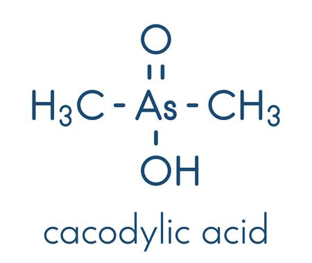Cacodylic acid herbicide molecule (Agent Blue). Highly toxic organoarsenic compound. Skeletal formula.