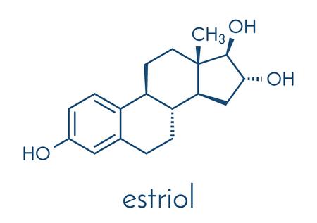 Estriol (oestriol) human estrogen hormone molecule. Skeletal formula.