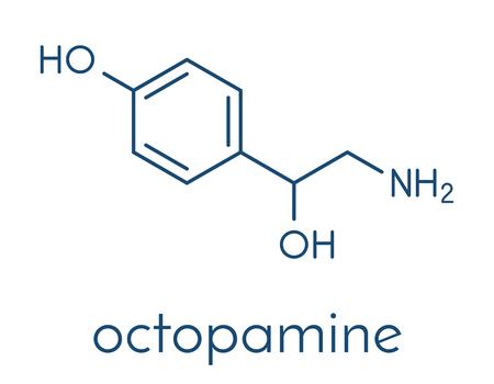 Octopamine stimulant drug molecule (sympathomimetic agent). Skeletal formula. Illustration