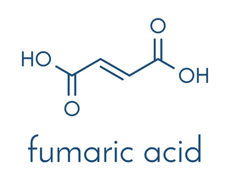 Fumaric acid molecule. Found in bolete mushrooms, lichen and iceland moss and used as food additive. Skeletal formula. Illustration