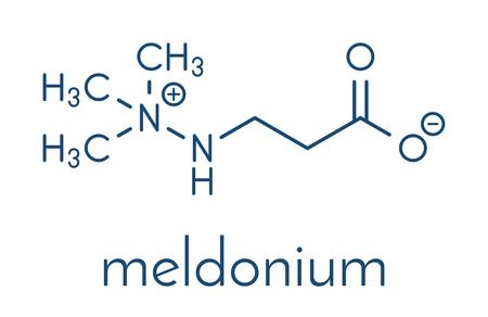 Meldonium anti-ischemic drug molecule. Used in treatment of angina and myocardial infarction. Skeletal formula. Illustration