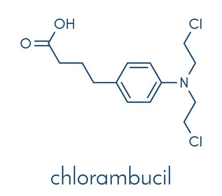 Chlorambucil leukemia drug molecule. Nitrogen mustard alkylating agent mainly used to treat chronic lymphocytic leukemia (CML). Skeletal formula. 일러스트