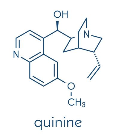 Quinine malaria drug molecule. Isolated from cinchona tree bark. Skeletal formula. Illustration