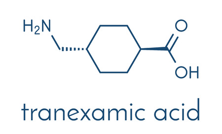Tranexamic acid antifibrinolytic drug molecule. Prevents excessive bleeding, e.g. during surgery. Skeletal formula.