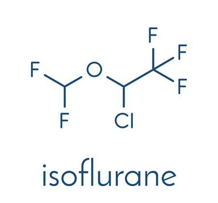 Isoflurane anesthetic drug molecule. Used for inhalational anesthesia during surgery. Skeletal formula.