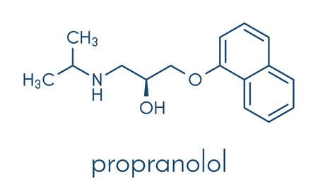 Propranolol high blood pressure drug molecule. Used to treat hypertension, anxiety and panic disorders. Skeletal formula. Illustration