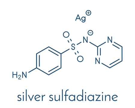 Silver sulfadiazine topical antibacterial drug molecule. Used in treatment of wounds and burns. Skeletal formula.