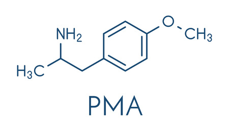 p-methoxyamphetamine (PMA) hallucinogenic drug molecule. Frequently leads to lethal poisoning when mistaken for MDMA (XTC, ecstasy). Skeletal formula.