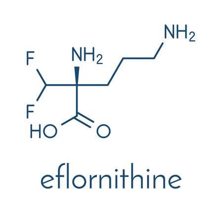 Molecola di droga Eflornithine. Usato per trattare irsutismo facciale (crescita eccessiva dei capelli) e tripanosomiasi africana (malattia del sonno). Formula scheletrica. Archivio Fotografico - 93243939