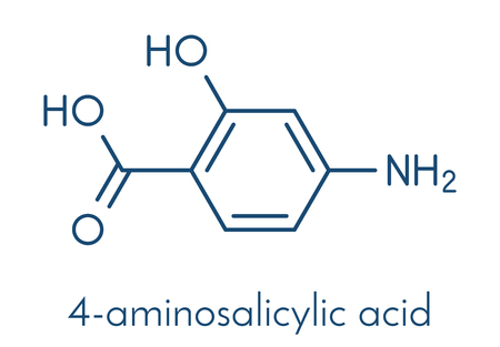 Para-aminosalicylic acid drug molecule. Used in treatment of tuberculosis and inflammatory bowel disease (ulcerative colitis, Crohns disease). Skeletal formula.