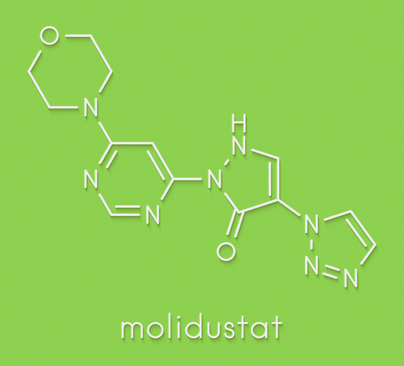 Molidustat investigational anemia drug molecule. Inhibitor of hypoxia-inducible factor prolyl hydroxylase, used as sports doping agent. Skeletal formula.