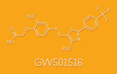GW501516 (endurobol) performance enhancing drug molecule (illegal). Skeletal formula.