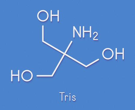 Tris buffering agent molecule. Also known as tromethamine. Skeletal formula. Stock Photo