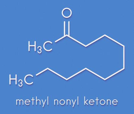 Methyl nonyl ketone (2-undecanone) insect repellent molecule. Skeletal formula. Stock Photo