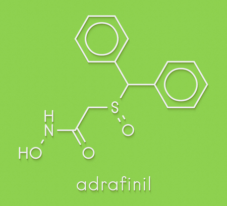 Adrafinil drug molecule (withdrawn). Skeletal formula. Stock Photo
